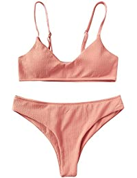 ZAFUL Conjunto De Bikini Bralette Push Up con Relleno Tirantes Ajustables Dos Piezas Traje de Baño