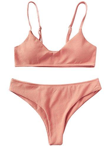 ZAFUL Damen Bikini Set Zweiteilige Badeanzug High Cut Bralette Sexy Swimsuit Sommer (Rosa, XL (EU 42))
