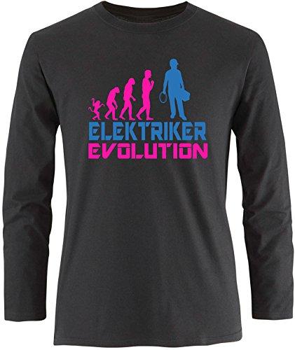 EZYshirt® Elektriker Evolution Herren Longsleeve Schwarz/Pink/Blau