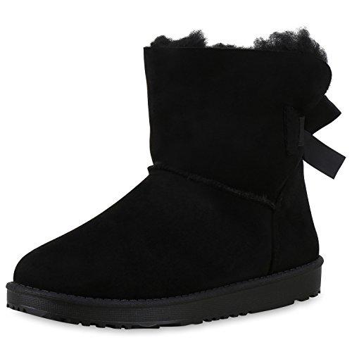 SCARPE VITA Warm Gefütterte Damen Stiefeletten Schlupfstiefel Boots Schuhe 132228 Schwarz Schleifen Warm Gefüttert 38