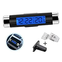 amropi Car Clock Thermometer Digital LCD Blue Light Screen Auto Time Temperature Monitor with Clips Batteries
