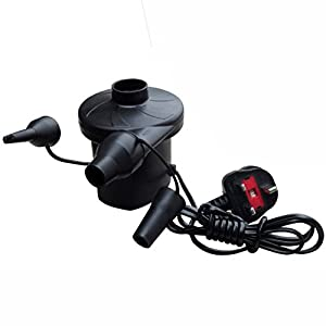 41dUoCrhrGL. SS300  - UKHobbyStore® Mains Powered Electric Air Pump For Airbeds And High Volume Inflatables With Home 240v Plug Adaptors Fast Flow Garden Home Or Camping Airpump With Universal Valves- Inflates And Deflates.