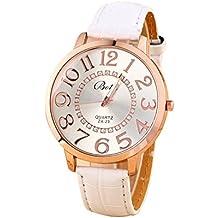 Reloj de pulsera - Batti ZA-23 reloj de pulsera unisex de cuero de imitacion de estras de numeros grandes blanco