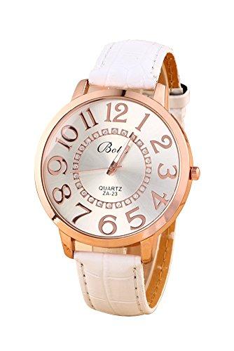 Montre-bracelet - Batti ZA-23 Unisexe montre-bracelet de cadran de gros chiffres strass avec bande en simili cuir blanc