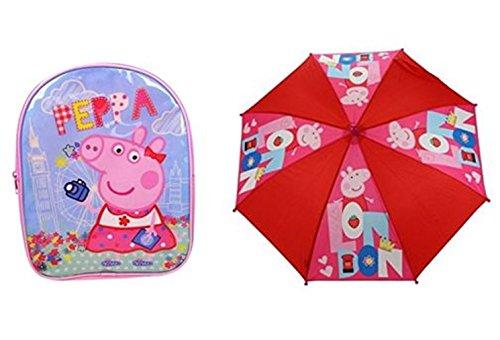 Peppa Pig London Rucksack Schule Tasche und Regenschirm Set (Peppa Pig-schule-tasche)