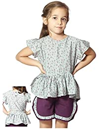 Night Suit for Toddlers - Aqua Blue Color - Soft Sinker Material - Printed Night Suit - Half Sleeves Top and Bermuda Set - Available for 2/3/4/5/6 Year old Girls - Casual wear for Kids