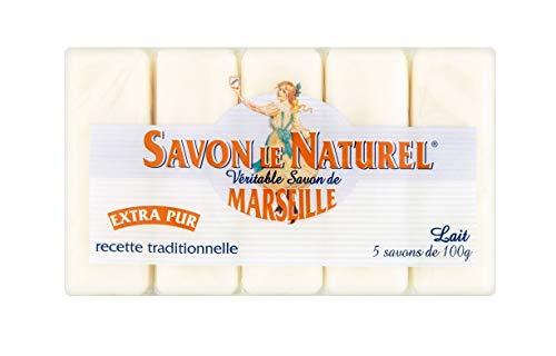 Savon le Naturel - Auténtico jabón de Marsella extrapuro de leche, 5 unidades, 100 g