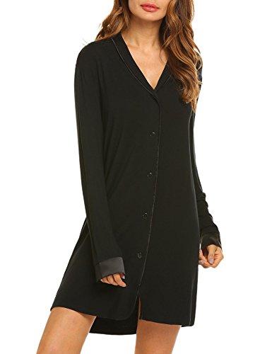 Damen Nachthemd Baumwolle shirt lang schwarz L (Schwarzen Nachthemd Langen)