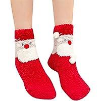 ☺HWTOP Sportsocken Weihnachtssocken Unisex Hohe Socken Hauptsocken Blickdicht Sneaker Socken Damen & Herren & Jungen & Mädchensocken Fluffy Warm Schlaf Premium Fußball Socken Baumwollsocken 1 Paar