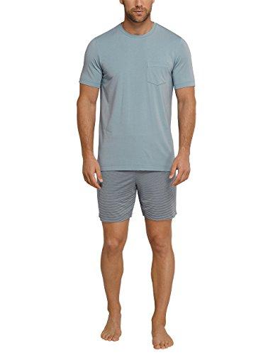 Schiesser Herren Zweiteiliger Schlafanzug Long Life Cotton Anzug Kurz Blau (Blaugrün 817)