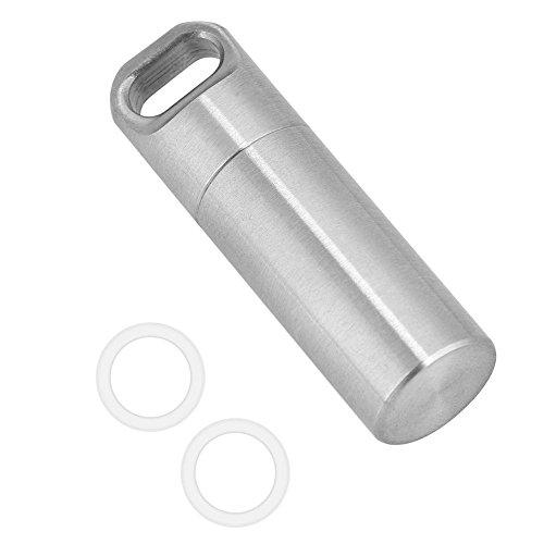 02 Mini-anhänger (Asixx Mini Pillendose, Mini Kapsel Pillenbox Wasserdichte aus Edelstahl für Outdoor-Camping, Wandern, Klettern, usw,S/M/L(M))