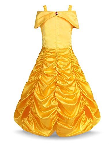 (Freebily Mädchen Belle Kostüm Prinzessin Kleid aus Schulter Cosplay Kostüm Halloween Kleider für Themenparty Karneval Fasching Gelb 110-116/5-6 Jahre)