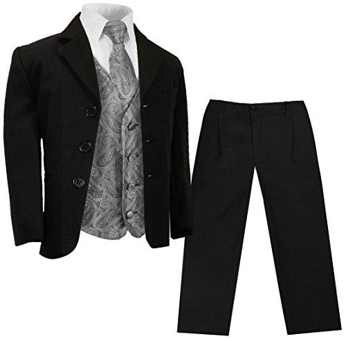 Paul Malone - Konfirmationsanzug Taufanzug schwarz + Silber graues Westenset 16