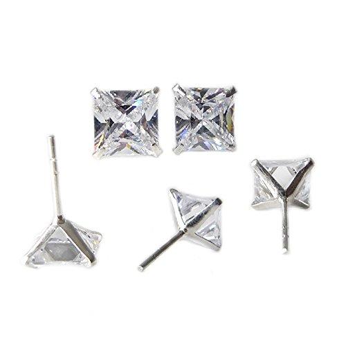 Zirconi, orecchini quadrati in argento 925. solidi orecchini trasparenti per uomo e donna,3mm,4mm, 5 mm, 6mm, 7mm, 8mm (8x8 mm)