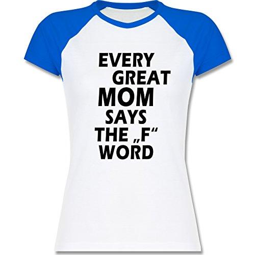 Shirtracer Statement Shirts - Fuck Word - Zweifarbiges Baseballshirt/Raglan T-Shirt für Damen Weiß/Royalblau