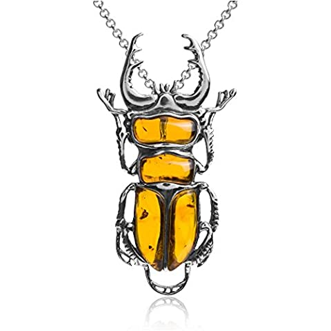 Amber Sterling Silver Large Beetle Slider Pendant Necklace Chain 40 cm