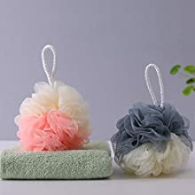 2 Pack Bath Puffs,Shower Sponges Mesh Pouf Bathing Loofahs Sponge for Bath Shower