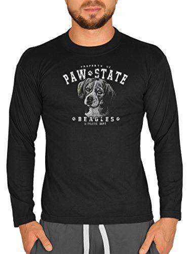 Langarmshirt longsleeve mit coolem witzigem Hunde Motiv Paw state - Beagle - für Männer Herren Farbe schwarz Schwarz
