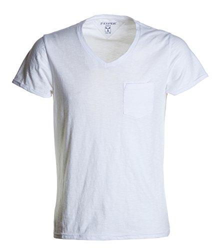 T-shirt Uomo Maniche Corte e Strette con risvolto e Taschino Payper Wild, Colore: Bianco, Taglia: L
