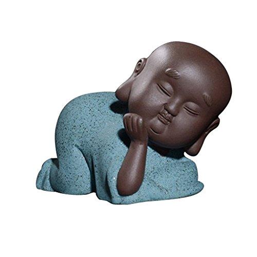 non-brand MagiDeal Lila Sand Mönch Buddha Figur Skulptur Statuen Set, Tee Tray Dekor - # 7 Blau