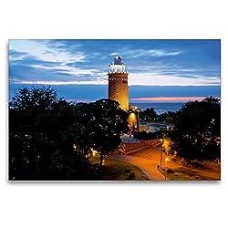 Premium Textil-Leinwand 120 x 80 cm Quer-Format Leuchtturm an der Ostsee in Kolobrzeg (Polen) | Wandbild, HD-Bild auf Keilrahmen, Fertigbild auf hochwertigem Vlies, Leinwanddruck von Christian Bosse