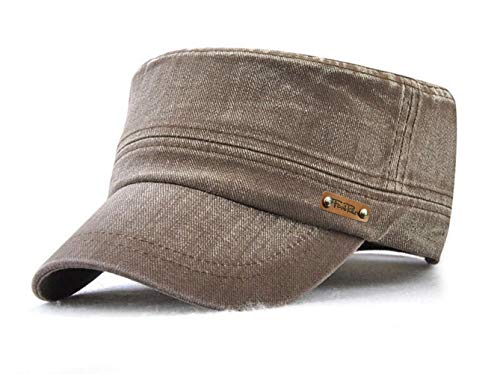 Herren Military Baseball Caps Vintage Flat Kappe Army Cap Cotton Mütze (Braun)