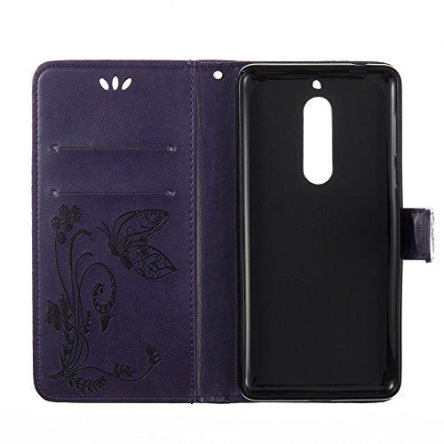 Solid Color Faux Leder Bookstyle Brieftasche Stand Case mit geprägten Blumen & Lanyard & Card Slots für Nokia 5 (N5) ( Color : Brown ) Purple