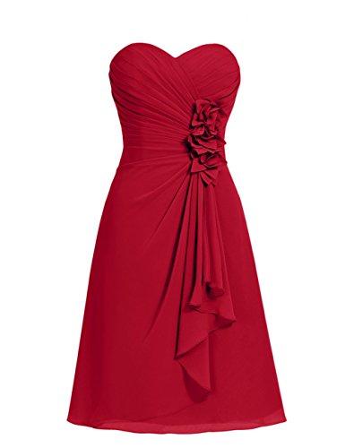 Dresstells, robe courte de demoiselle d'honneur mousseline Col en cœur Rouge Foncé