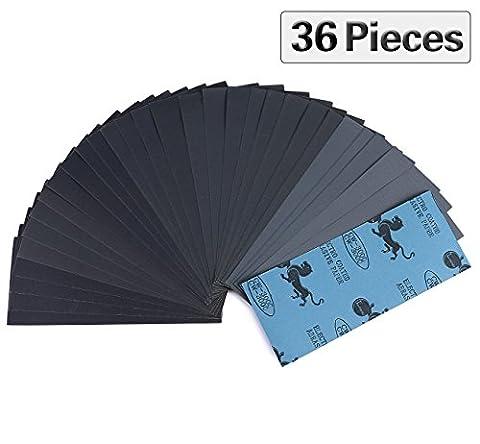 Lot de 36 Papier de Verre, Seacue Papier Sec à l'Eau 400 600 800 1000 1200 1500 2000 2500 3000 4 Feuilles/Grain, 9 x 3,6 Pouces