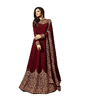 Ethnic Empire Women's 2018 New Latest Georgette Anarkali Salwar Suit (Dhruva_ER10813_Maroon_Free Size)