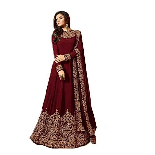 Ethnic Empire Women\'s 2018 New Latest Georgette Anarkali Salwar Suit (Dhruva_ER10813_Maroon_Free Size)