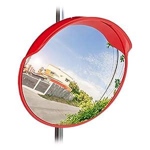Relaxdays Verkehrsspiegel 60 cm, wetterfest, unzerbrechlich, Innen & Außen, mit Halterung, Sicherheitsspiegel, rot