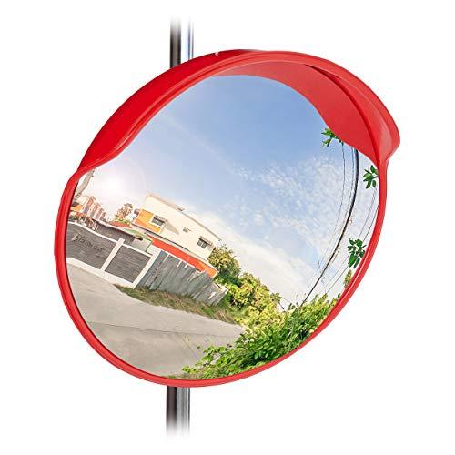 Relaxdays 10023700 Verkehrsspiegel 60 cm, wetterfest, unzerbrechlich, Innen & Außen, mit Halterung, Sicherheitsspiegel, rot, Standard -