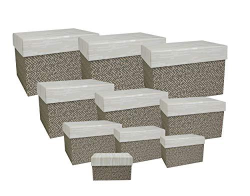 Emartbuy Conjunto de 10 Rígido Lujo Rectángulo Presentación de Caja de Regalo, Caja Marrón Con Tapa de Efecto Papel Pintado y Blanco Interior