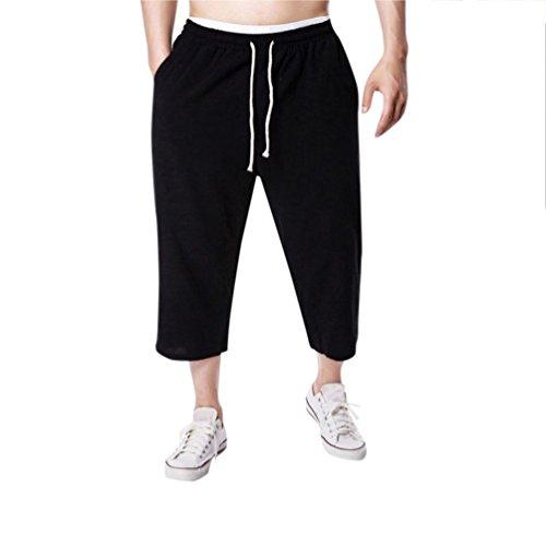 (Malloom-Schlauch Männer Jogging Fitness Flachs beiläufige Lose relaxatio Kordelzug Reine Farbe Hose)