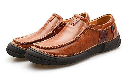 Uomini Slip-On Oxford Scarpe Uomini Britannici Retro Primo Piano Di Piedi in Pelle Scarpe Uomo Nuove Scarpe da Cucire Brown 1