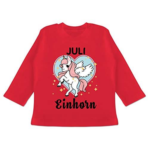 Geburtstag Baby - Einhorn Geburtstag Juli - 3-6 Monate - Rot - BZ11 - Baby T-Shirt Langarm (4. Juli Ideen Für Die Party)