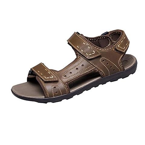 Spades et clubs en cuir pour homme à bout ouvert été Velcro Sport Randonnée Trail Chaussures Sandales - Marron - Khaki, 44.5