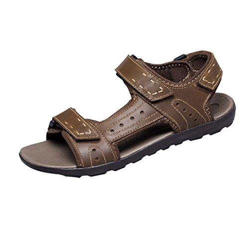 Vanghe & Club aperte sulle dita estivi da uomo, in pelle, con chiusura in Velcro per l'atletica, il Trail running Shoes-Sandali da passeggio, Marrone (Cachi), 44.5
