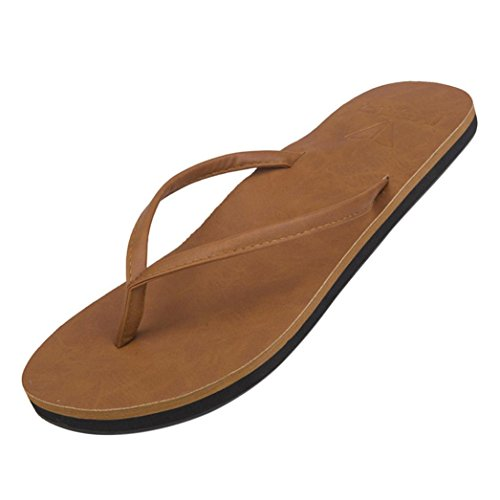 FEITONG Damen-Mädchen-Herren Flip Flop Summer Beach Pool Schuhe Unisex Hausschuhe Strand Sandalen Freizeit Schuhe (EU:39=CN:40, Braun) Mädchen Flip-flops Für Den Pool