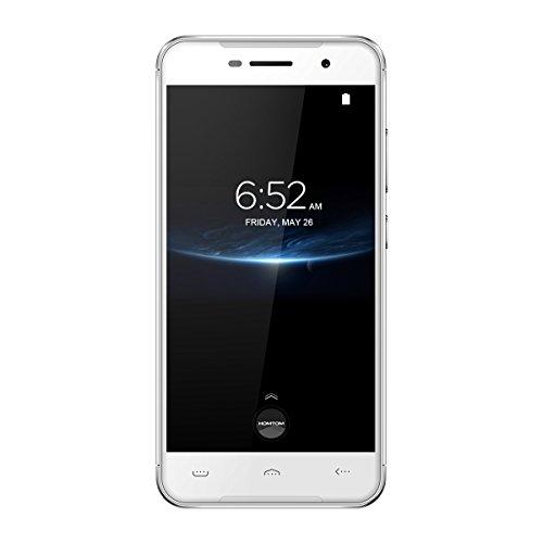 "Homtom HT37 Pro - 5,0"" 4G Smartphone, Android 7.0 Quad Core 3GB+32GB, Cámaras Duales 8.0MP+13.0MP, Doble SIM, Identificación de Huella Digital, Teléfono Móvil Desbloqueado, Plata"