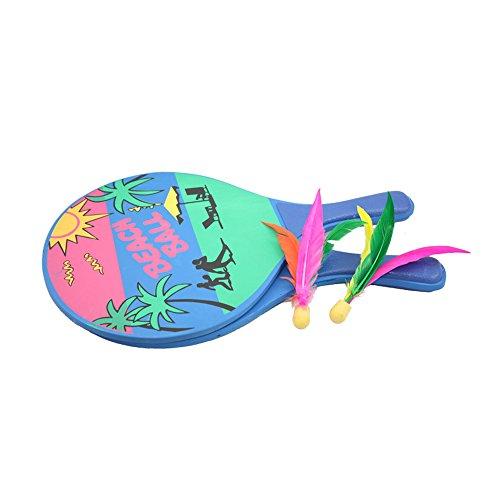 MansWill Strand Paddle Ball Spielset - Alle Jahreszeiten Drinnen/Draußen Beach Holzschläger mit 2 Birdies für Tennis