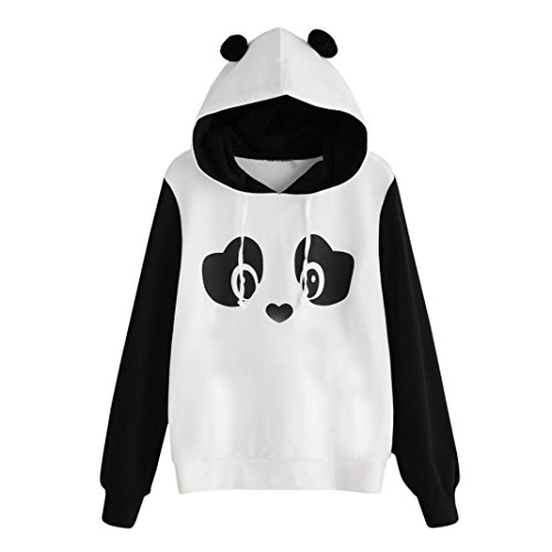 Sweatshirt damen Kolylong® Hot Sale! Frauen Elegant Panda Karikatur Sweatshirt mit Kapuze Herbst Winter Locker Hooded Pullover Langarm Shirts Mantel Jacke T-Shirt Tops Oberteile (XL, Weiß) (Volle T-shirt Locker)