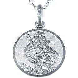 Collier réversible au pendentif St Christophe en argent d'acier avec une chaîne de 45,72 cm & une boîte-cadeau de bijoux de 16mm.
