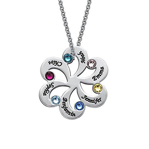 JF Personalisierte Namen Halskette Blume Familie Birthstone Name Halskette für Mama