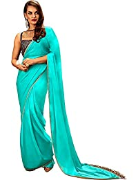 Khwaab Fusion Fringe Style Turquoise Blue Wedding Designer Wear Saree With Stitched Blouse(New Western Wear Bridal...