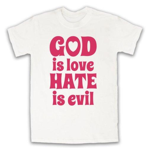 God Is Love Hate Is Evil Retro Slogan Herren T-Shirt Weis