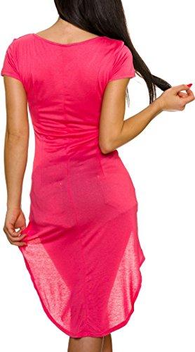 Made in Italy Damen Vokuhila Kleid Kurzarm-Longpulli Sweatshirt (Einheitsgröße 34 36 38) Coral
