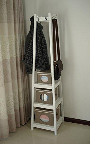 Homecharm-Intl HC-039 Wooden coat rack stand with storage shelves,white