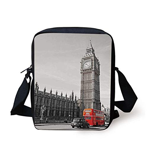 FAFANIQ London,Big Ben Tower Begining of Westminster Bridge with Black Cab And Red Bus Image,Grey Black Red Print Kids Crossbody Messenger Bag Purse